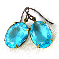 Aquamarine Crystal Earrings, Vintage Glass, Vintage Style Earrings, Translucent, Blue, Summer Jewelry