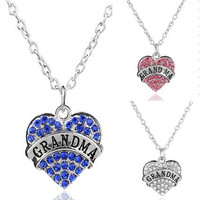 Clear Blue Pink Crystal Heart Engraved Grandma Pendant Necklace Family Member Jewelry Christmas Gifts For Grandma Factory Direct