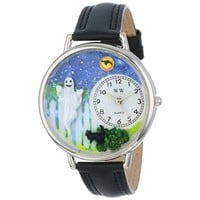 SheilaShrubs.com: Unisex Halloween Ghost Black Skin Leather Watch U-1220032 by Whimsical Watches: Watches