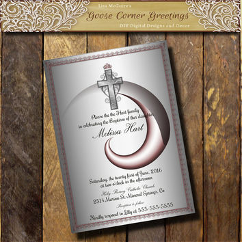 Baptism Invitation LDS Printable Baptism invite Baptism girls Baptism boys Silver Pink Digita File Announcement Cross Custom