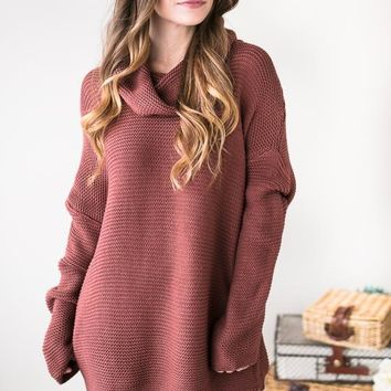 The Turtle And The Hare Turtle Neck Sweater- Red Bean