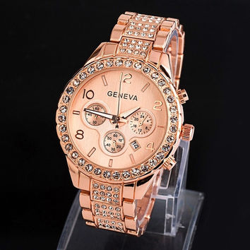 Women Fashion Luxury Diamond Bling Crystal Quartz Rose Gold Geneva Watch (With Thanksgiving&Christmas Gift Box)= 1956419908