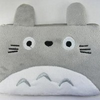 "Totoro Plush Double Zipper Bag 7.5""x5"""