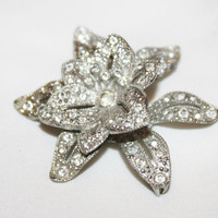 Art Deco Brooch Pave Rhinestone Trembler Flower 1930s Jewelry Bridal Wedding