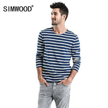 Spring Striped T Shirts Men Long Sleeve O neck Cotton Tops Male High Quality Casual Breton Top