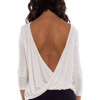 Turn Around Draping Twist Open Back Jersey Top - White