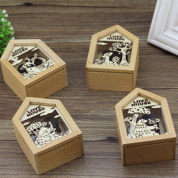Creative Stationary Hollow Out Music Box Metal Gifts Photo Frame [6282788358]