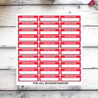 Important Planner Labels Red- Erin Condren Life Planner