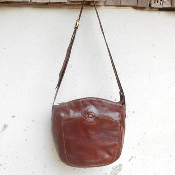 Vintage Cognac Brown THE BRIDGE 037733 Leather Shoulder Bag / Cosmetic Bag /Medium / Made in Italy