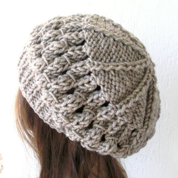 School Girl Knit Hat  Beehive beret  in  Oatmeal beige  Womens Hat  Slouchy Beanie Beret  Fall Autumn  Winter Accessories fashion  Christmas