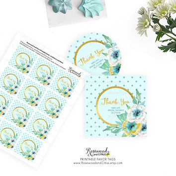 Printable Favor Tags, Printable Thank You Tags, Printable Bridal Shower Favor Tags, Bridal Shower Tags, Thank You Favor Tags, Mint Floral