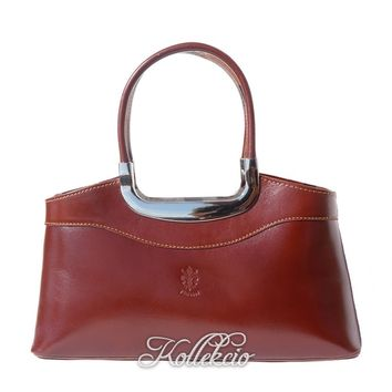 Elegant Italian Genuine Leather Brown Handbag with Double Handle
