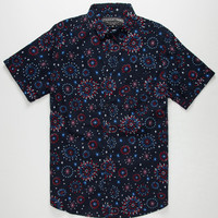 Straight Faded Fireworks Mens Shirt Navy  In Sizes