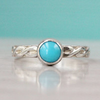 Turquoise ring, Arizona Sleeping Beauty turquoise, 925 sterling silver floral band, 6 mm gemstone, stacking ring, December birthstone
