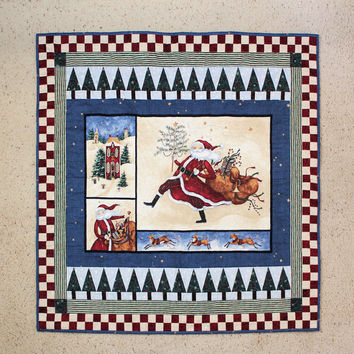 St. Nicholas Quilted Wall Hanging and Tabletopper - Shower or Teacher Gift - Christmas Quilt Decor