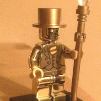Custom Made Lego Mr Gold Minifigure - Chrome Body and painted accessories