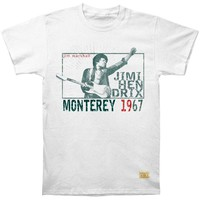 Jimi Hendrix Men's  Monterey Pop Vintage T-shirt White