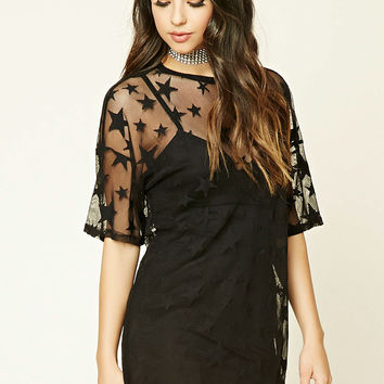 Star Pattern Mesh Top