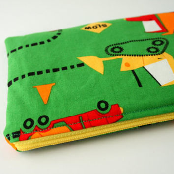 Children's pencil case, truck and digger zip pouch, art  supplies organiser