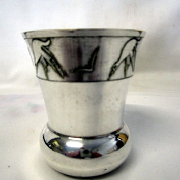 French Vintage Baptism Christening Cup Goblet Silver Plate Circa 1930s