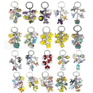 Halder Anime Pocket Monsters Keychain Charms Cartoon Eevee Key Chains Poke Ball Keyring Round Bag Trinkets Accessories Gadgets