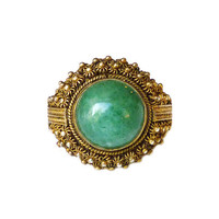 Chinese Export Ring, China Silver, Gold Plated Vermeil, Green Aventurine, Adjustable Ring, Vintage Jewelry