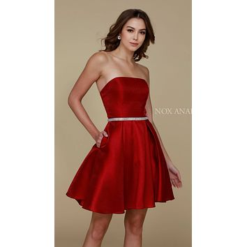 Strapless A Line Mikado Homecoming Dress Burgundy Pockets