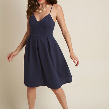 V-Neck Pleated A-Line Dress in Navy