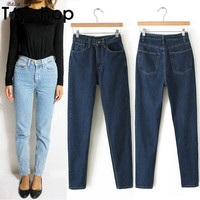 2016 Fashion Loose Jeans American Mom Jeans Boyfriend Jeans For Women High Waist Jeans Cargo Demin Pants Woman Casual Apparel