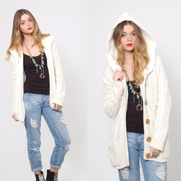 Vintage 80s White SLOUCHY Cardigan CABLE KNIT Sweater Knit Hoodie Indie Jumper