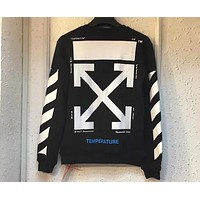 OFF-WHITE OW Tide brand head oil painting Mona Lisa sweater F-A-KSFZ Black