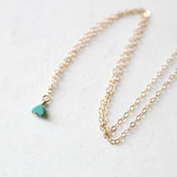 Tiny Turquoise Triangle Necklace