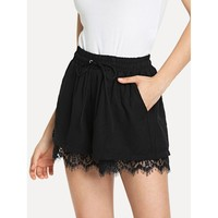 Lace Hem Drawstring Waist Shorts