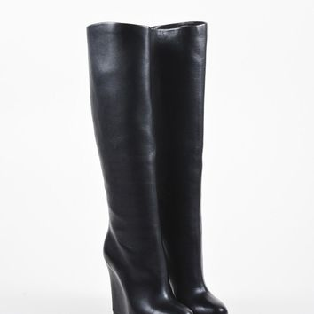 PEAPU2C Black Christian Louboutin Leather Concealed Wedge Zepita Boots