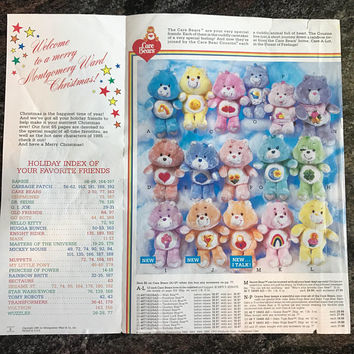 1985 Care Bears Vintage Toy Ad and Montgomery Ward Christmas Catalog Cover