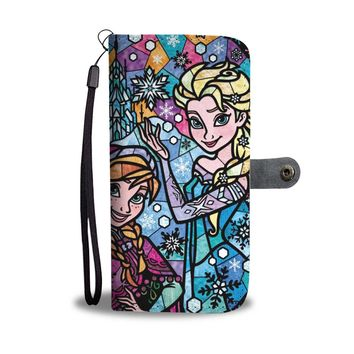 KUYOU Disney Princess Elsa And Anna Stained Glass Wallet Phone Case