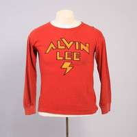Vintage 70s ALVIN LEE T-SHIRT / 1970s Soft Long Sleeve Ten Years After Tee Shirt M