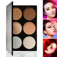 6 Colors Women Face Pressed Powder Foundation Grooming Highlight Contour Shadow Powder Palette Makeup Cosmetics