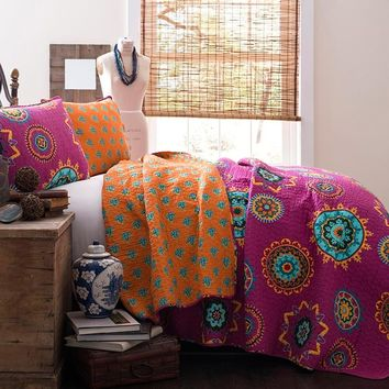 Special Edition by Lush Decor Adrianne 3 Piece Quilt Set in Fuchsia