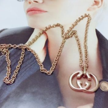 GUCCI Hot Sales Fashion New Simple Letter Pendant Necklace Women Accessories Rose gold