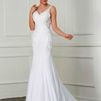 New Sexy Backless Mermaid Wedding Dress Straps Beading Appliques Bridal Gowns