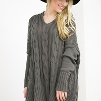 V-Neck Cable-Knit Sweater   Dark Grey