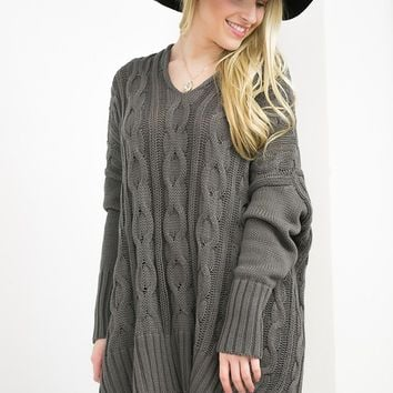 V-Neck Cable-Knit Sweater | Dark Grey