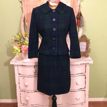60s Plaid Suit, 1960s Mod Two Piece, Jacket Skirt Set, Classy Green Blue Suit, Retro Midcentury Business Attire, Jackie O Style Clothing