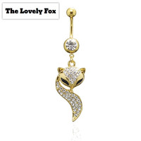 "Gold plated Surgical Steel ""The Lovely Fox"" Navel Belly Button Rings Barbell with Crystal Body jewelry"