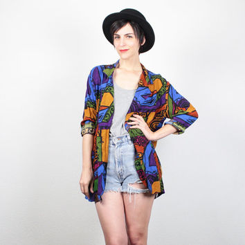 Vintage 80s Blazer Jacket Lightweight Draped New Wave Abstract Print Jacket 1980s Mod Rainbow Color Block Blazer Hipster M Medium L Large