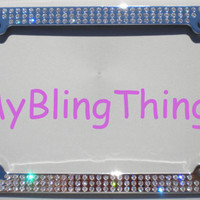 Clear Crystal BLING Inset / Embedded Rhinestone License Plate Frame made with Swarovski Elements