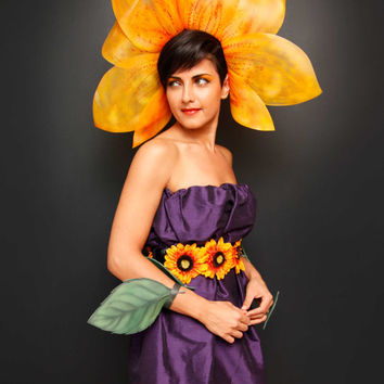 Sunflower womens costume yellow headpiece green wrist leaves purple dress
