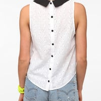 Pins and Needles Collar Blocked Eyelet Blouse