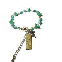Spring greens and bunnies means love bracelet